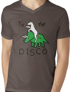 To The Disco (Unicorn Riding Triceratops) Mens V-Neck T-Shirt