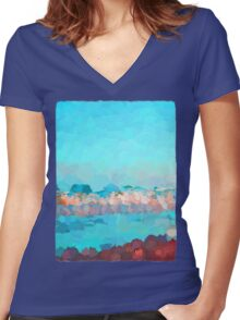 Turquoise Waves Rolling In Women's Fitted V-Neck T-Shirt