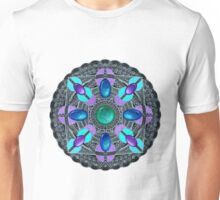 White on Black Gemstones Mandala Unisex T-Shirt