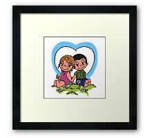 love is sitting on grass together  Framed Print
