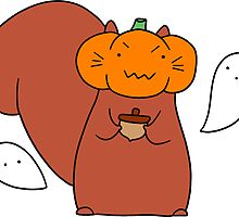Ghost Pumpkin Squirrel by SaradaBoru