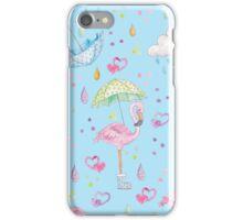 Rainy Flamingo iPhone Case/Skin