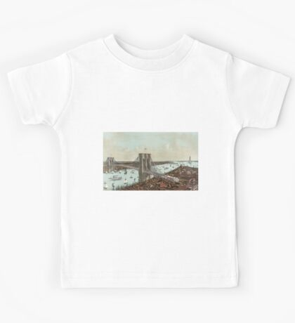 Grand birds eye view of the Great East River suspension bridge  - 1892 Kids Tee
