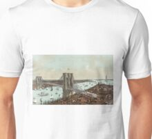 Grand birds eye view of the Great East River suspension bridge  - 1892 Unisex T-Shirt