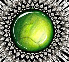 Green Gemstone Mandala on Charcoal Background Sticker