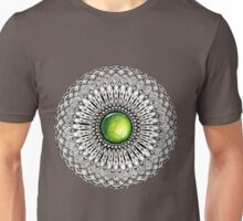 Green Gemstone Mandala on Charcoal Background Unisex T-Shirt