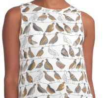 Doves on Wires Watercolor Pattern Contrast Tank