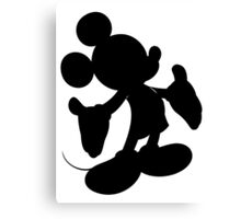 Black Mickey Mouse Silhouette Canvas Print