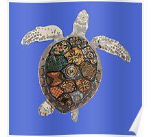 Watercolour Tiled Sea Turtle Poster