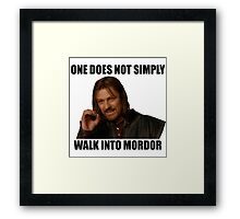 One does not simply walk into Mordor - Meme Framed Print