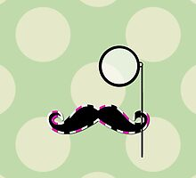 Moustache, Monocle, Dots, Stripes - Green Pink by sitnica