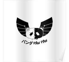 Panda Paw Paw Winged Bison Design (Black) Poster