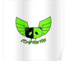 Panda Paw Paw Winged Bison Design (Green) Poster