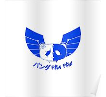 Panda Paw Paw Winged Bison Design (Blue) Poster