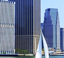 Sail Boat Sailing past the Skyscrapers by printsforwalls