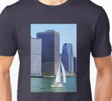 Sail Boat Sailing past the Skyscrapers Unisex T-Shirt