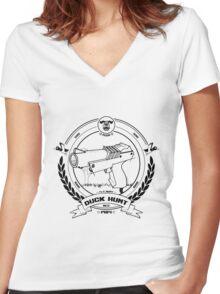 Duck Hunt - Black - Women's Fitted V-Neck T-Shirt