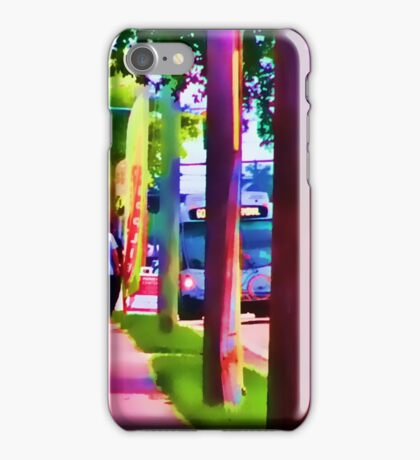 Street Painting of the Bus Coming iPhone Case/Skin