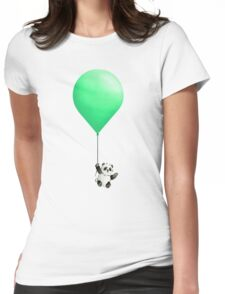 Panda Balloon  Womens Fitted T-Shirt