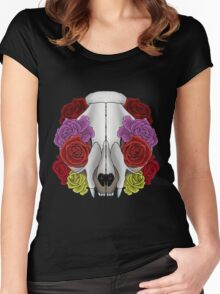 Cat Skull and Roses Women's Fitted Scoop T-Shirt