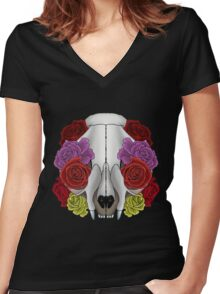 Cat Skull and Roses Women's Fitted V-Neck T-Shirt