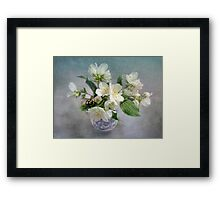 Mock Orange Blossoms Bouquet with Bumble Bee Framed Print