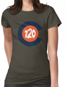 Hand Drawn Colorado Flag 720 Area Code Broncos Womens Fitted T-Shirt