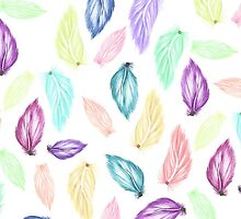Modern colorful boho watercolor feathers hand painted pattern by GirlyTrend
