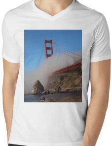 The Marine Layer flowing over the Golden Gate Bridge Mens V-Neck T-Shirt