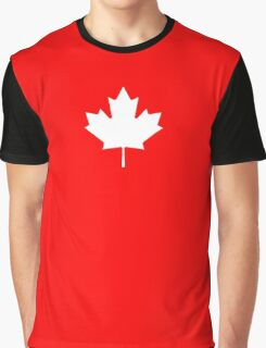 MAPLE LEAF, CANADA, CANADIAN, WHITE, Pure & Simple, Canadian Flag, National Flag of Canada, 'A Mari Usque Ad Mare', White on Red Graphic T-Shirt