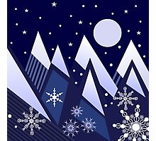 Blue Mountains and snowflakes Photographic Print