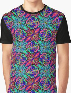 Fanciful Tropical Floral Design Graphic T-Shirt