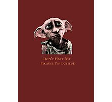 Don't Hate Dutiful Dobby Photographic Print