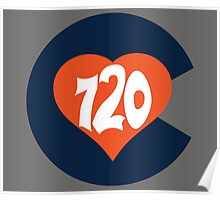 Hand Drawn Colorado Heart Flag 720 Area Code Broncos Poster