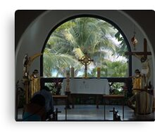 Altar amid Palms Canvas Print