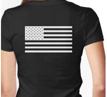American Flag, STARS & STRIPES, USA, America, White on Black Womens Fitted T-Shirt