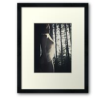 Beautiful artistic nude portrait of a woman in soft sunlight in forest art photo print Framed Print