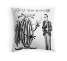 HP Lovecraft and Elder Thing Throw Pillow