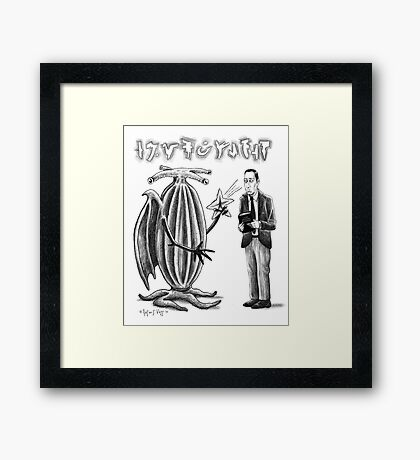 HP Lovecraft and Elder Thing Framed Print