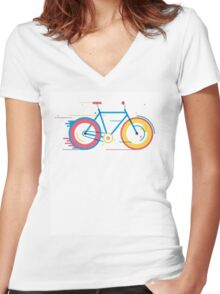 Unisex Bicycle Illustration Women's Fitted V-Neck T-Shirt