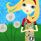 Dandelion Wishes Mixed Media Girl by Laura Bell