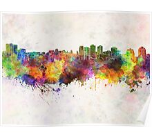 Halifax skyline in watercolor background Poster