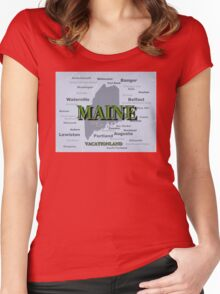Aged Maine State Pride Map Silhouette  Women's Fitted Scoop T-Shirt