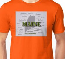 Aged Maine State Pride Map Silhouette  Unisex T-Shirt
