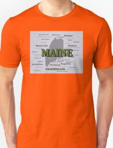 Aged Maine State Pride Map Silhouette  T-Shirt