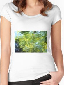 Stained glass Tree Reflection Women's Fitted Scoop T-Shirt