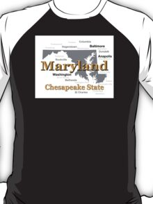 Maryland State Pride Map Silhouette  T-Shirt