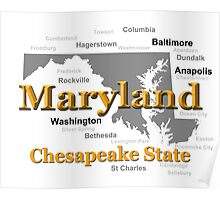 Maryland State Pride Map Silhouette  Poster