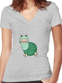 Yarn Alpaca - Green Women's Fitted V-Neck T-Shirt