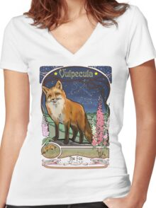 Fox and Foxgloves Constellation Vulpecula Art Nouveau Style Women's Fitted V-Neck T-Shirt